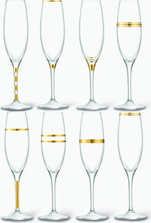 LSA International Gold Deco Champagne Flute Set of Eight