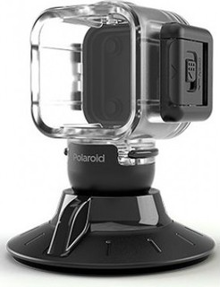 Polaroid Cube Waterproof Case With Suction Mount - Transparent Black