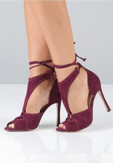 MARIA PINO Tie Up Cout Out Pumps - Burgundy