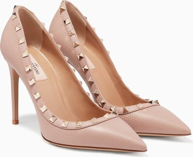 Valentino Poudre Rockstud Textured Leather Pumps