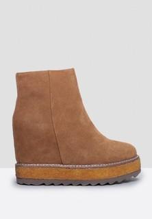MARIA PINO Platform Hidden Wedge Boots - Camel