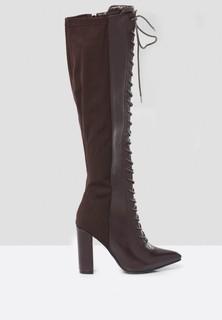 Toga Crisscross Tie Up Knee Boots - Black