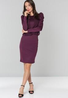 Golden Apple High Shoulder Dress With Drapping - Violet