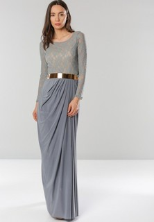 Golden Apple Lace Overlay Belted Maxi Dress - Grey