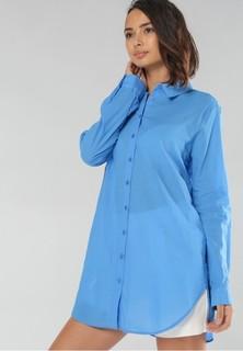 MISS POEM Classic Dress Shirt - Blue
