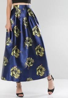 Miella Rose Detail Pleated Maxi Skirt - Navy