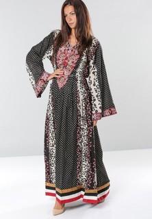 Sara Arabia Floral-Polka Dot Print Jalabiyas - Black