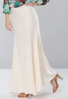 Seden Crepe Long Skirt - Off White