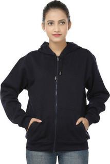 Weardo Women's Printed Hooded Sweatshirt, Navy Blue