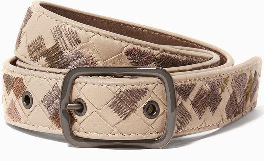 Bottega Veneta Beige Intrecciato Leather Belt