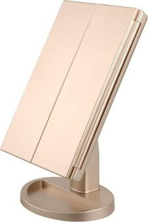 Other Lighted Makeup Mirror, Touch Screen Three Panel 21pcs Led Light Vanity Mirror, 2X and 3X Magnification (Gold)