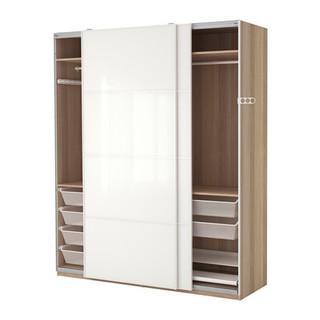 PAX Wardrobe, white stained oak effect, F rvik white glass