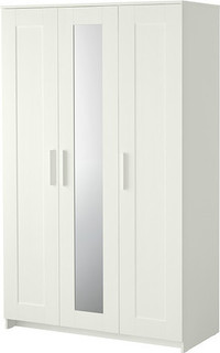 BRIMNES Wardrobe with 3 doors, white