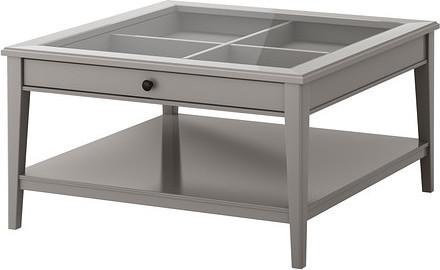 LIATORP Coffee table, white, glass