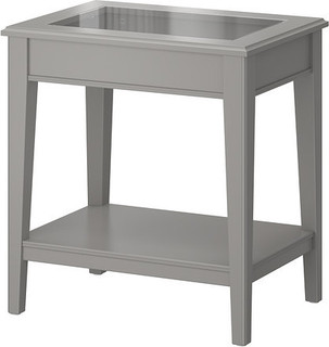 LIATORP Side table, white, glass