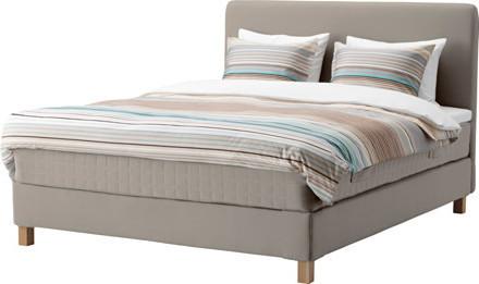 LAUVIK Divan bed, Hamarvik medium firm, Tuddal dark beige
