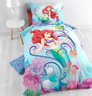 Disney Ariel The Little Mermaid Bed Cover and Pillow Case