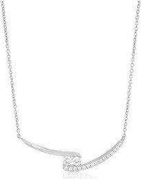 Fashion Jewellery Platinum-Plated Sterling Silver Swarovski Zirconia 2-Stone Bypass Pendant Necklace, 18' for Women