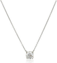 Fashion Jewellery Platinum or Gold-Plated Sterling Silver Swarovski Zirconia Round Solitaire Pendant Necklace for Women