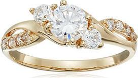 Fashion Jewellery 10k Yellow Gold Zirconia Three Stone Ring, Size 7 for Women