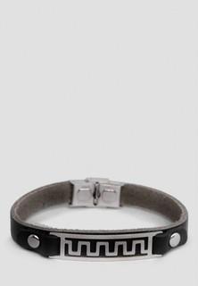 Puella Zigzag Line Detail Leather Strap Bracelet - Black