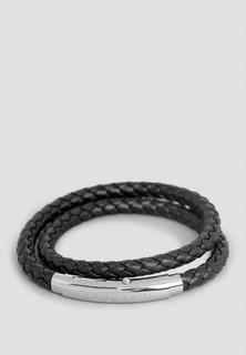 Roderer Double Wrap Round Shape Leather Bracelet