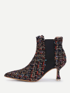 Mixed Pattern Court Heeled Ankle Boots