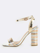 Striped Band Ankle Strap Heels GOLD