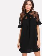 فيلويس فستان شبك مطرز بربطة عنق
