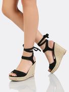 Faux Suede Ankle Wrap Espadrille Platform Wedge Sandal BLACK