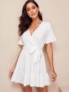فيلويس فستان ملفوف بحزام كشكش
