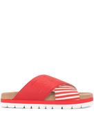 MSGM striped cross strap slippers