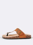 Cork Footbed Slide Sandal with Buckled T-Strap Thong TAN