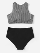 Plus Striped Top With High Waisted Bikini Set