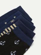 Men Anchor & Stripe Pattern Socks 5pairs