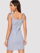 فيلويس فستان كامي مخطط بأزرار غير متماثلة