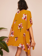 SHEIN Slit Side Flower Print Kimono