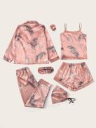7pcs Crane & Tropical Print Satin Pajama Set