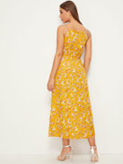 Calico Print Faux Pearl Detail Cami Dress