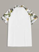 SHEIN Men Botanical Print Raglan Sleeve Polo Shirt