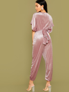 SHEIN Batwing Sleeve Belted Velvet Jumpsuit