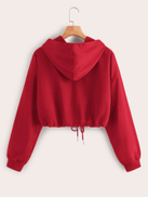 Solid Zip Up Hooded Crop Sweatshirt