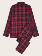 SHEIN Men Button Front Plaid Shirt & Pants PJ Set