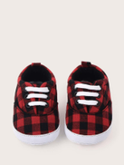 Baby Girl Lace-up Front Plaid Sneakers