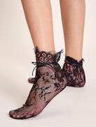 1pair Flower Pattern Lace Socks
