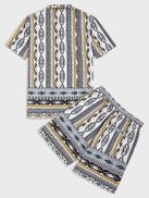 SHEIN Men Geo Print Shirt & Shorts Set