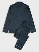 SHEIN Men Contrast Piping Satin Shirt & Pants PJ Set