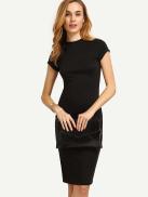 فيلويس فستان متوسط الطول بياقة صغيرة