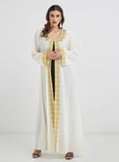 Hayat Threadwork Bisht Abaya Off white
