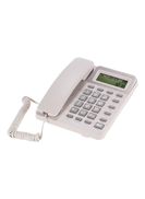 Corded Desktop Fixed Landline Telephone With Adjustable LCD Display White